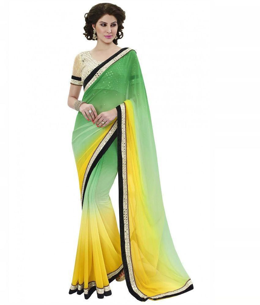 foram saree Green Faux Georgette Saree
