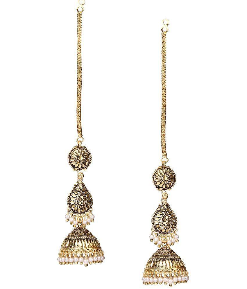 Giftmania Golden Brass Jhumkis Earrings