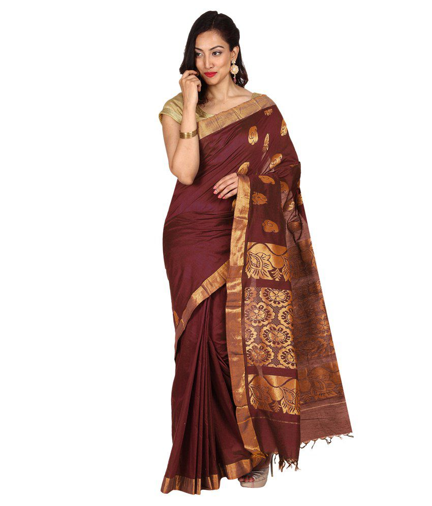 Platinaa Brown Cotton Silk Saree