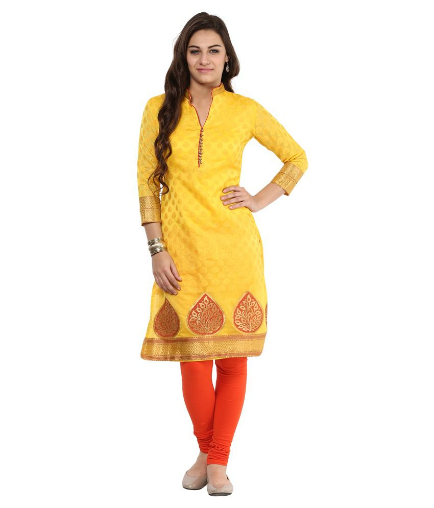 Prakhya Yellow Cotton Kurti