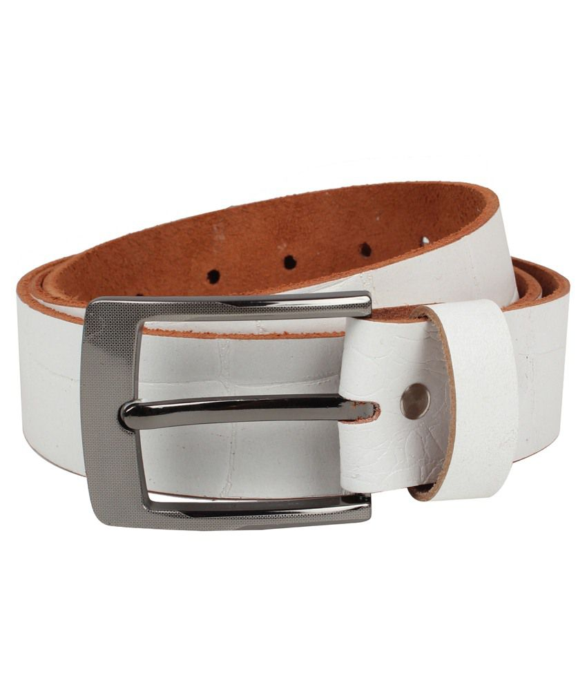 Exotique White Leather Casual Belts