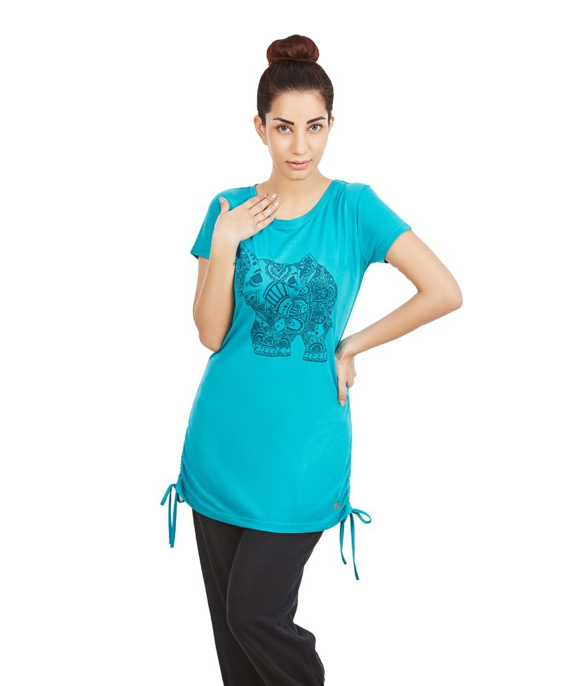Foreveryoga Tile Green Elephant Printed Adjutable Tee - Blue