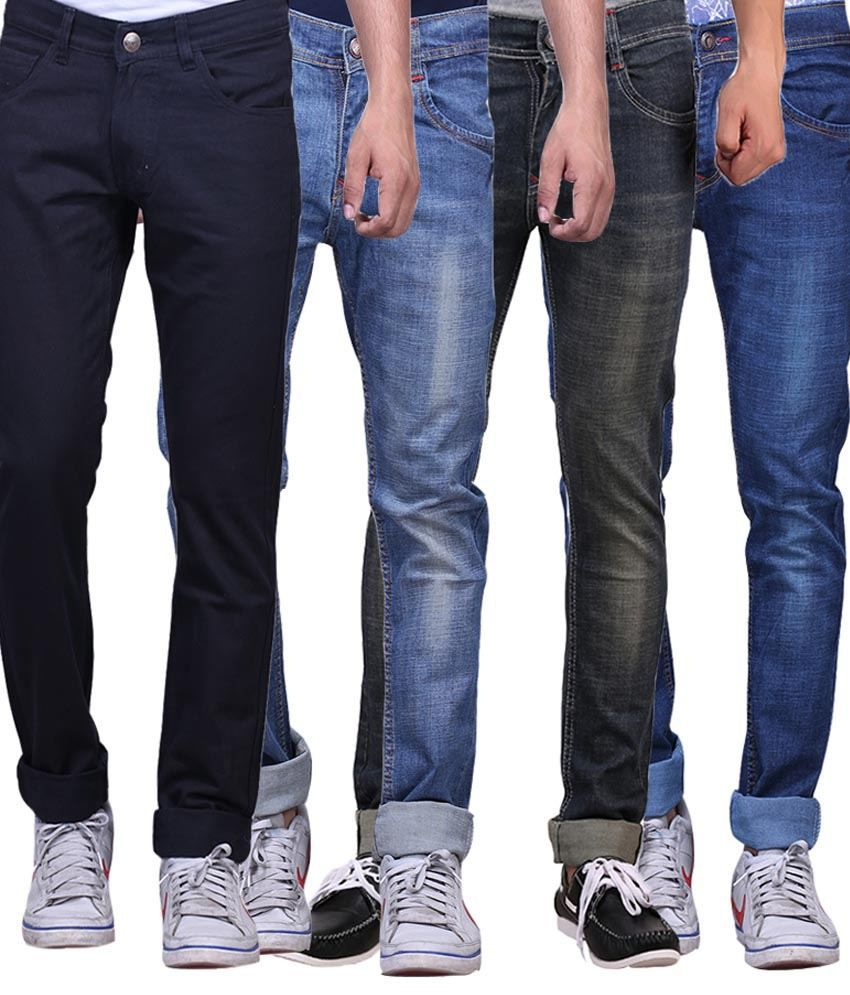 X-cross Multicolor Slim Fit Jeans - Pack Of 4 Pcs