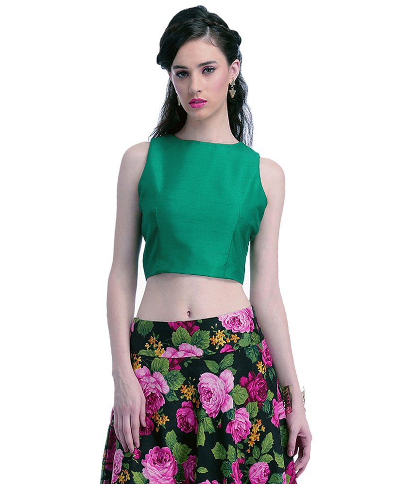 d45a3f9dcc Faballey Green Silk Crop Top - Buy Faballey Green Silk Crop Top Online at Best  Prices in India on Snapdeal