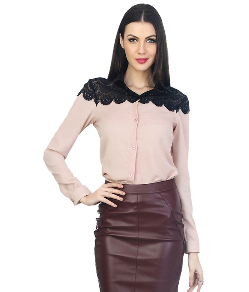 Faballey Pink Poly Georgette Shirts