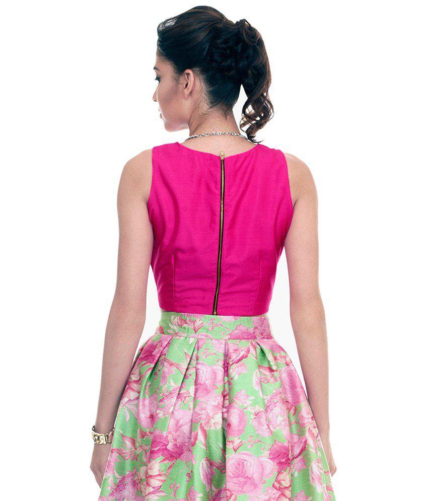 49100cd494 Faballey Pink Silk Crop Top - Buy Faballey Pink Silk Crop Top Online ...