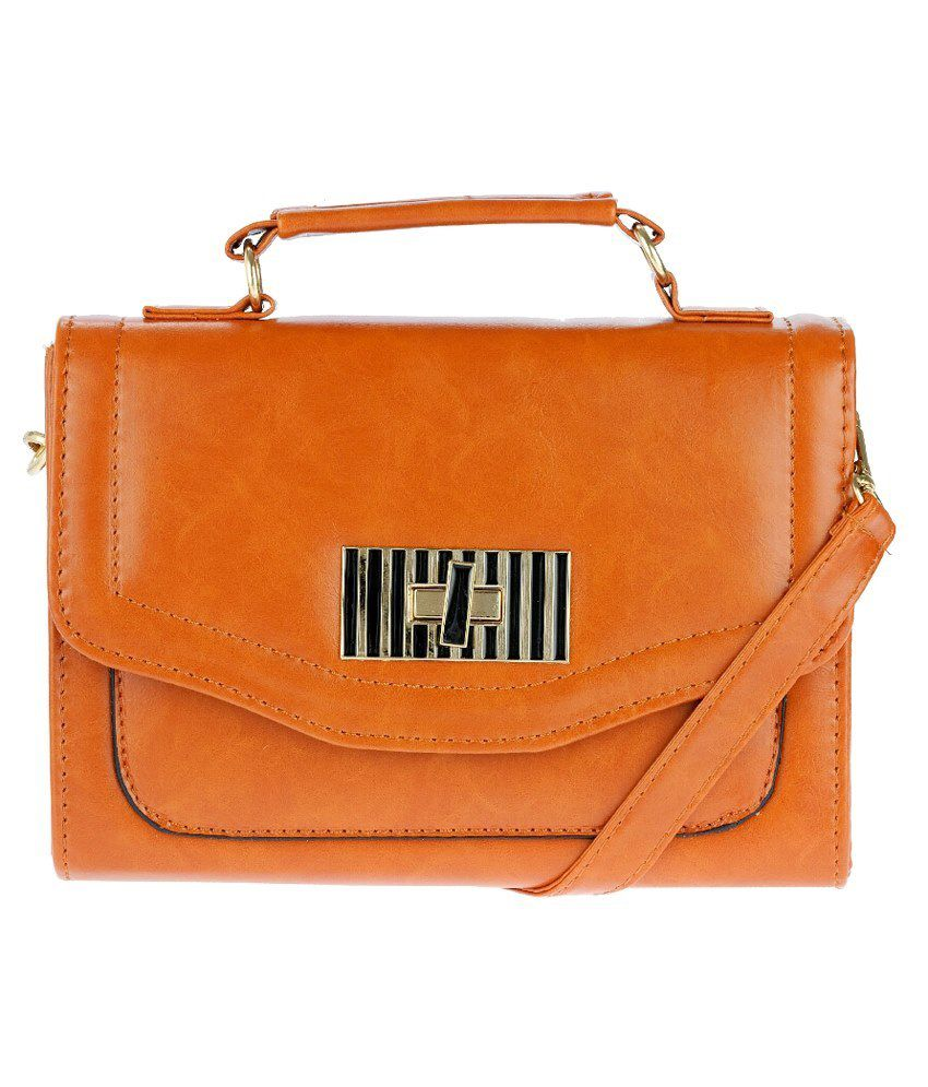 Iva Brown Non Leather Sling Bags