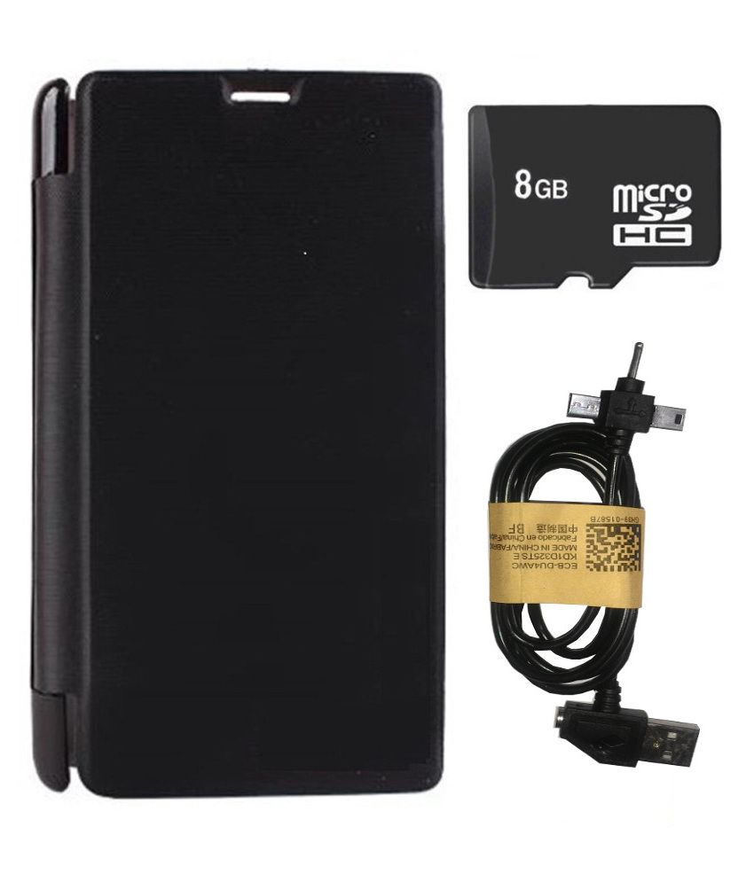 super popular e0bf2 e32ce Aravstore Micromax Canvas Fire 4g Plus Q412 Flip Cover - Black With ...