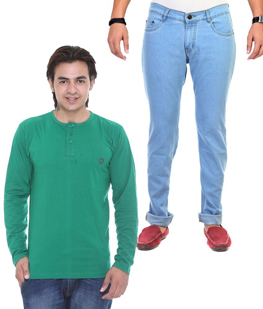 Ave Blue Regular Fit Jeans With Green T-Shirt - Set of 2