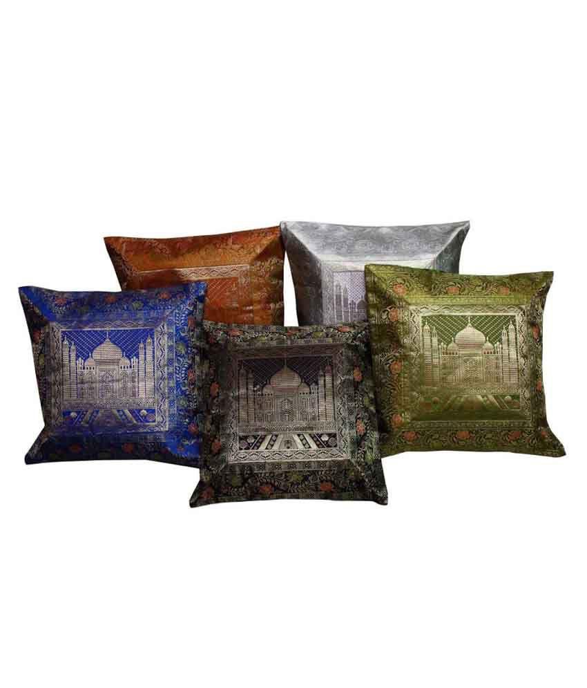 Bigcart Multicolour Printed Silk Cushion Cover Set Of 5