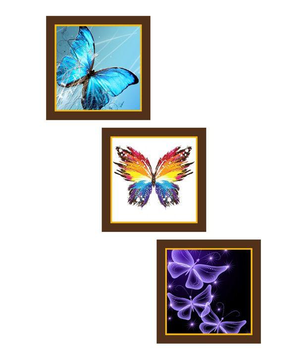 Go Hooked Butterflies Art Paintings - Set Of 3