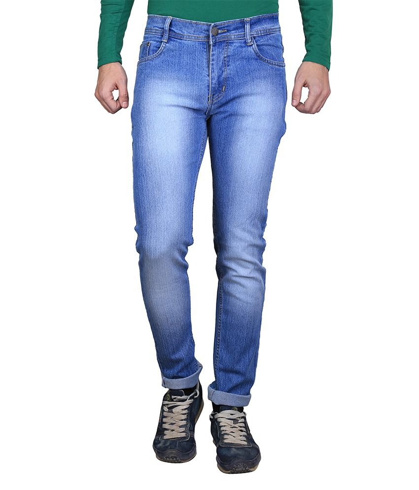 AVE Blue Cotton Mankey Wash Round Pocket Jeans for Mens