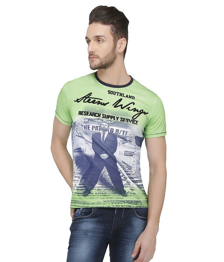 Curve Garments Green Cotton Blend T-shirt