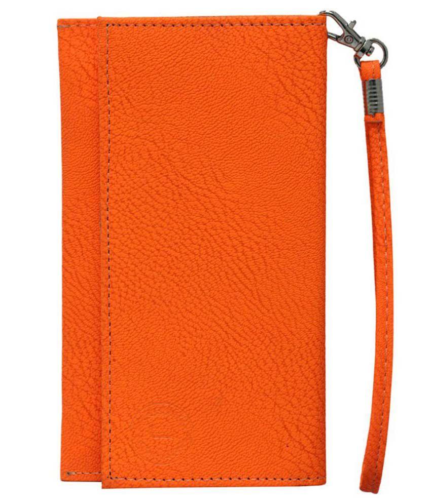 Jo Jo Wallet Case For Micromax Canvas Sliver 5 Q450 - Orange