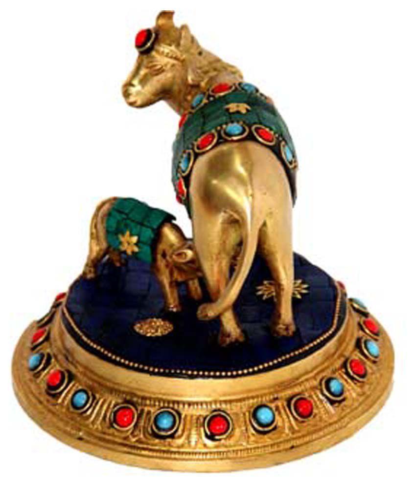 Mayasabha Decorative Stone Studded Cow & Calf Showpiece