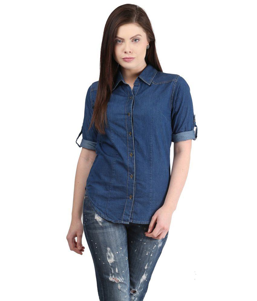 Buy mayra denim shirt online at best prices in india for Blue denim shirt for womens