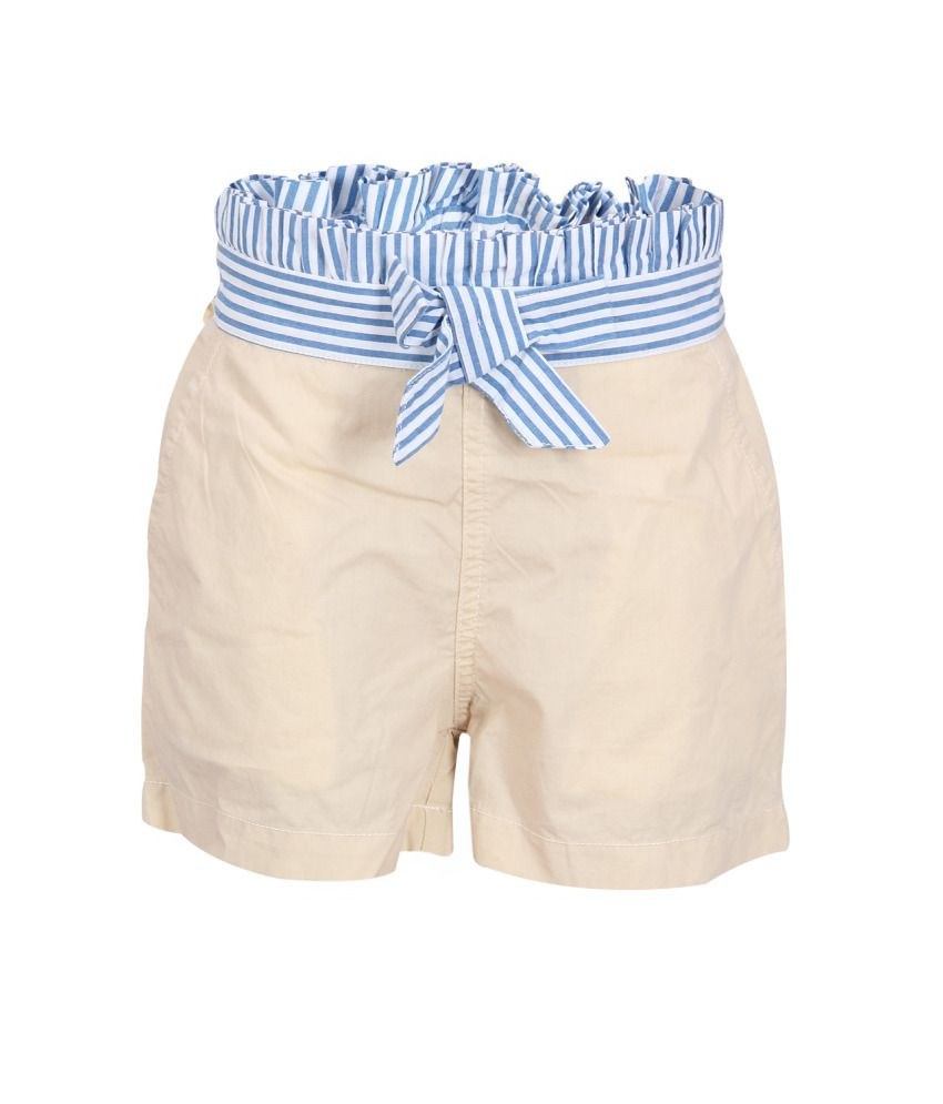 Miss Alibi Beige Cotton Shorts