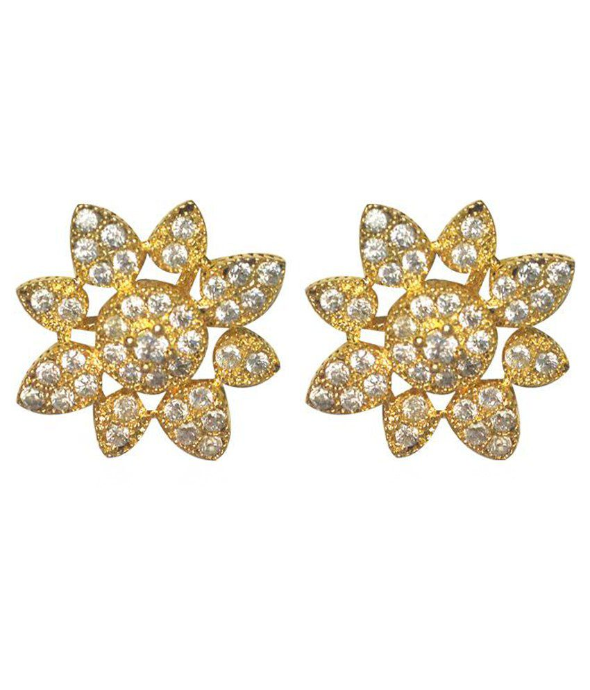 Swanvi Golden & Silver Alloy Stud Earrings