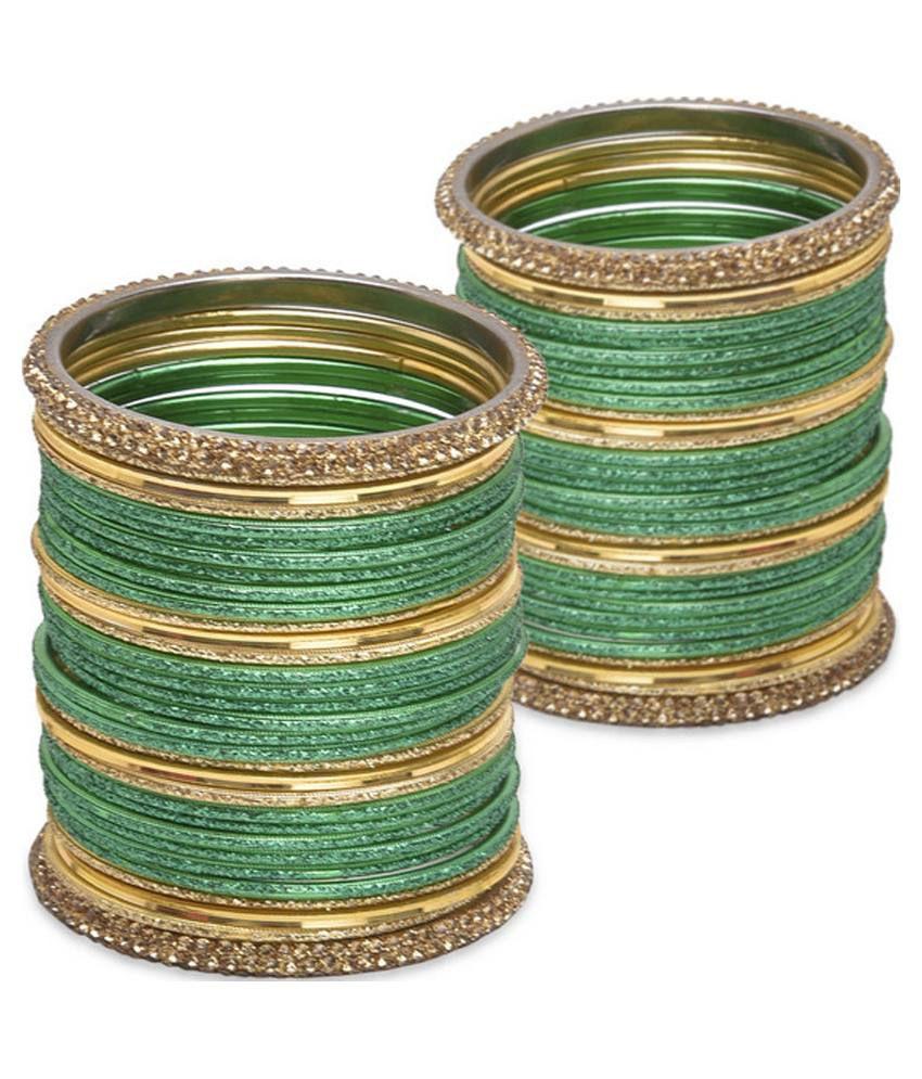 Zerokaata Green Bridal Bangle Set