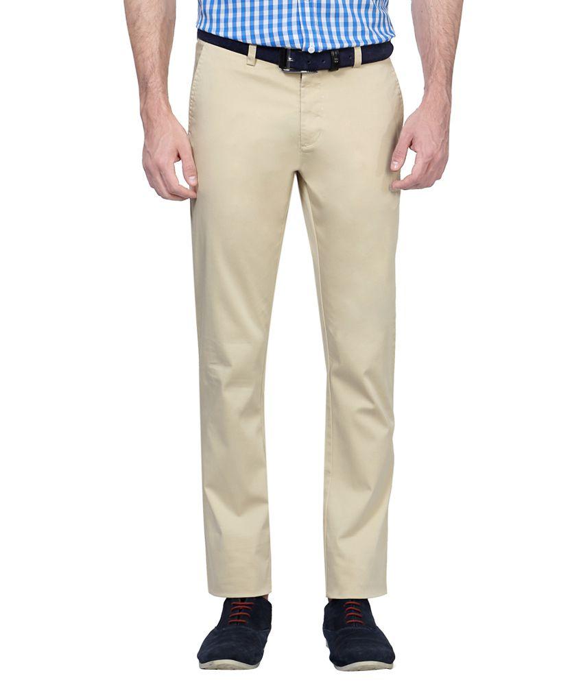 Allen Solly Beige Slim Fit Flat Trousers