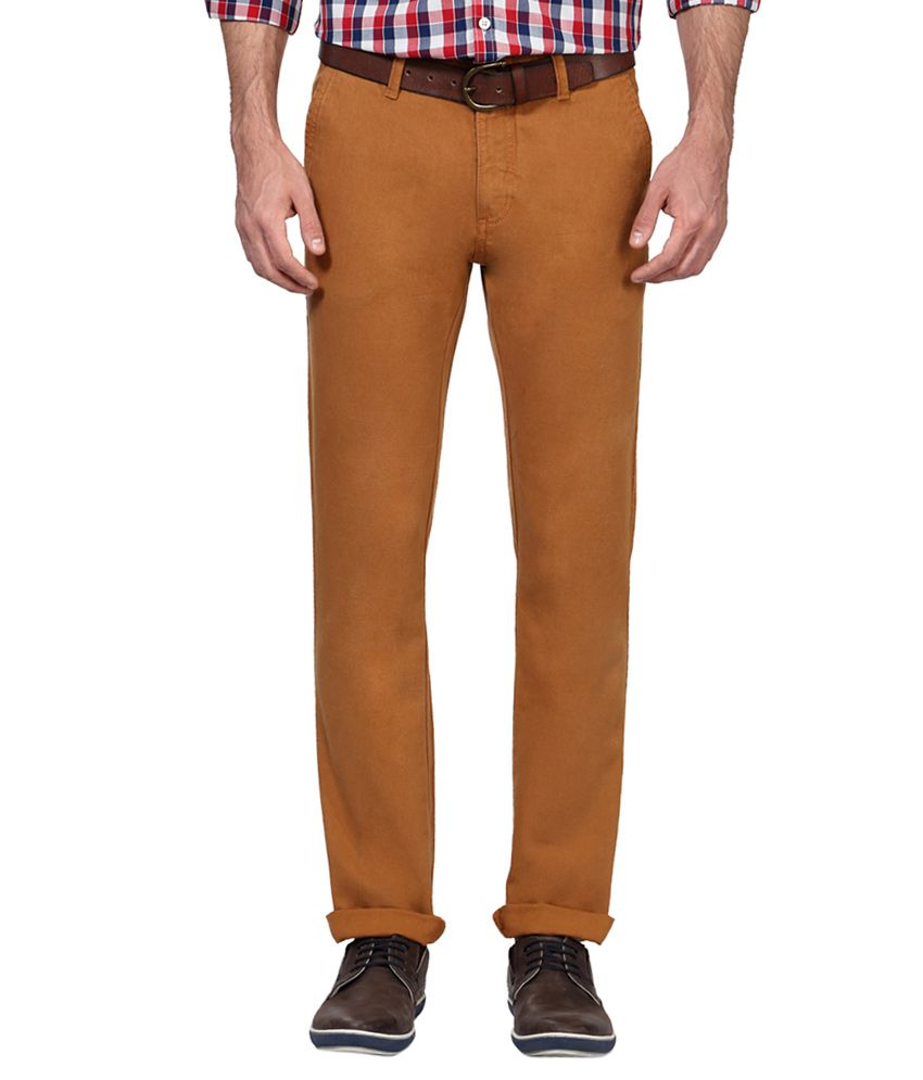 Allen Solly Brown Regular Fit Flat Trousers