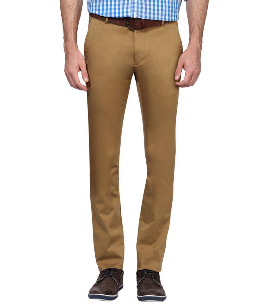 Allen Solly Khaki Slim Fit Flat Trousers
