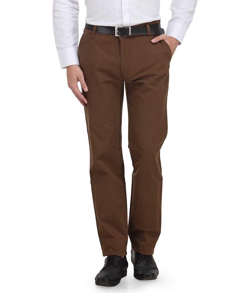 Ausy Brown Slim Fit Formal Flat Trouser