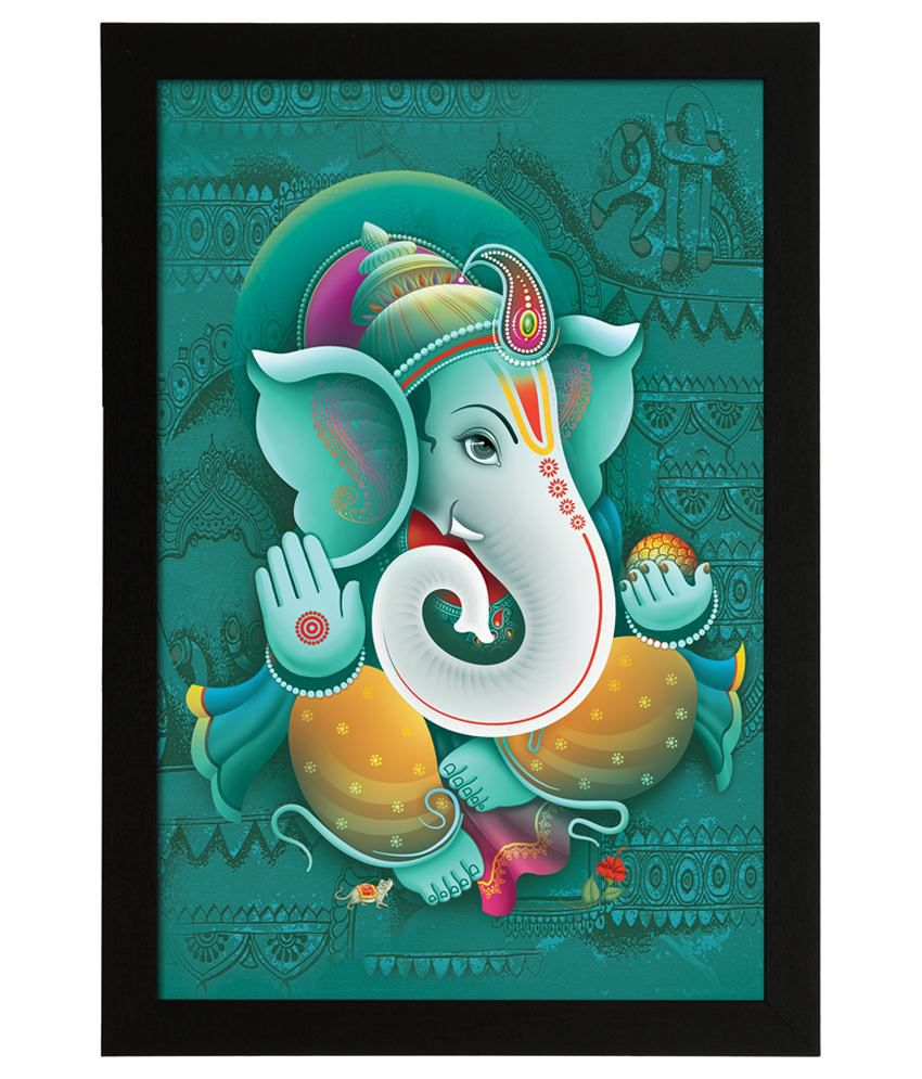 Delight Wooden Blessing Ganesha Digital Printed Uv Photo Frame
