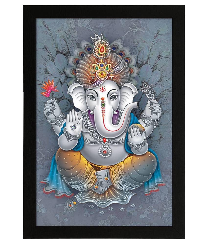 Delight Wooden Ganesha Vector Digital Printed Uv Photo Frame