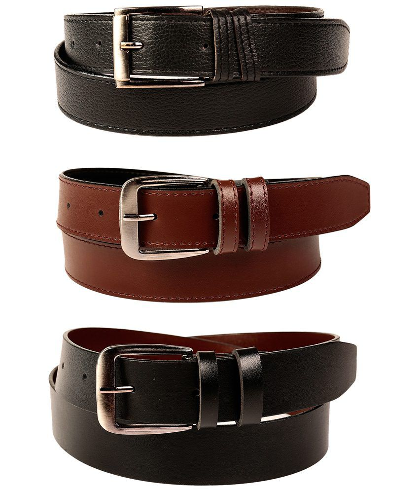Fedrigo Pack Of 3 Black & Brown Pin Buckle Belts