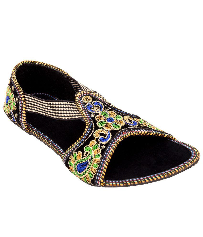 Footrendz Women's Ethnic Floral Embroidery Synthetic Leather Flats