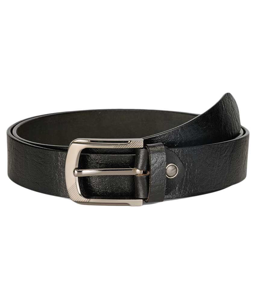 Teakwood Black Leather Belt For Men