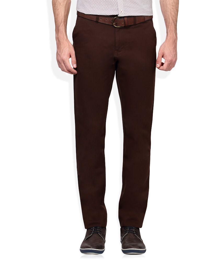 Van Heusen Brown Slim Fit Flat Trousers