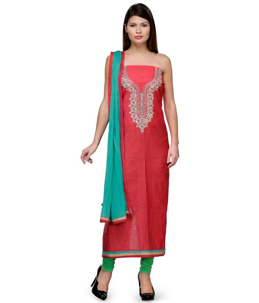 Glamizens Red Chanderi Straight Unstitched Dress Material
