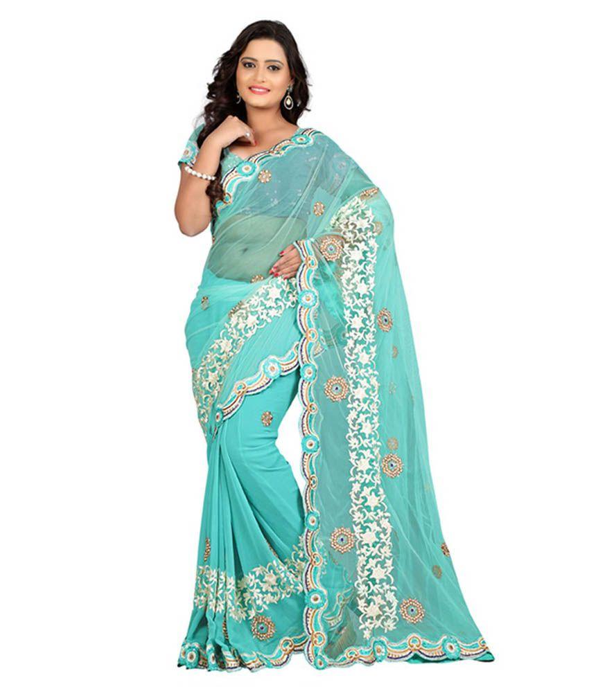 Fabdeal Turquoise Net Saree