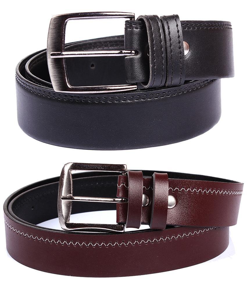Fedrigo Pack Of 2 Black & Brown Pin Buckle Belts