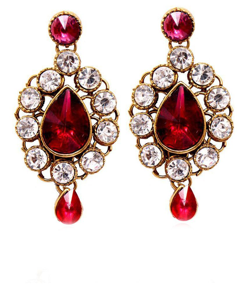 Ratnakar Red Alloy Drop Earrings