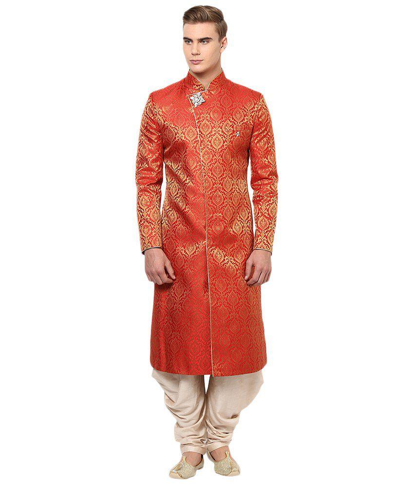 Yepme Red & Beige Addison Cotton Blend Sherwani Suit