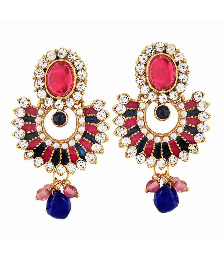 Maayra Multicolour Brass Hanging Earrings