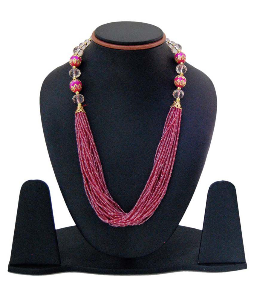 Sagun Art & Jewellers Pink Moti Beads Necklace