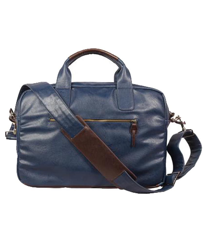 Harp Blue Leather Messenger Bag