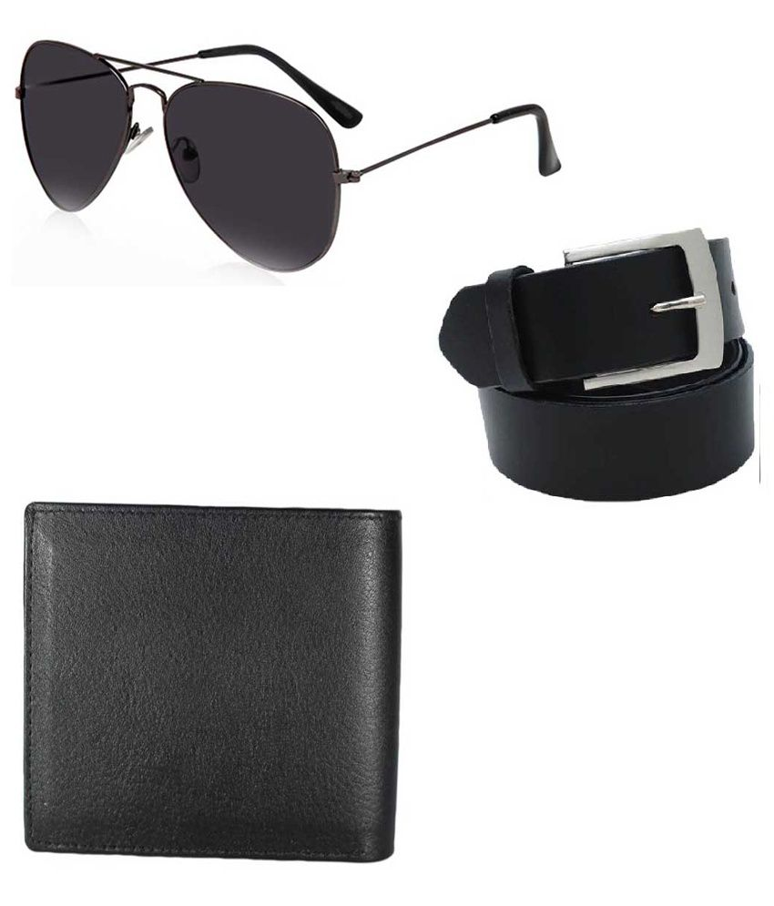 Lime Black Leather Wallet, Belt And Sunglasses Diwali Gift Set For Men