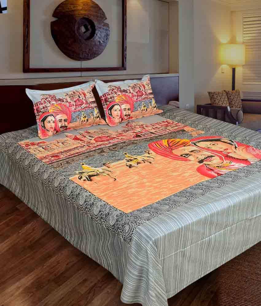 Little Joy Multicolour Cotton Double Bedsheet with 2 pillow cover