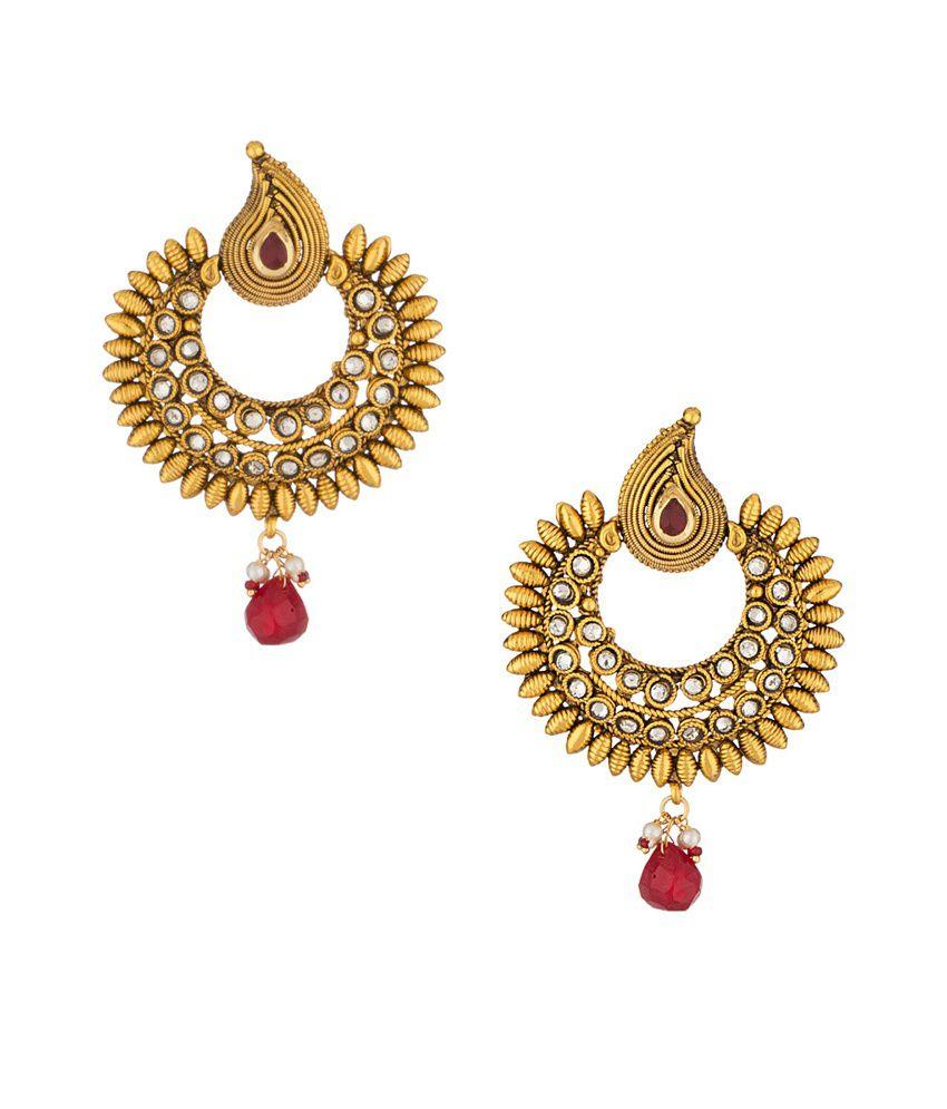 Voylla Golden Alloy Crystal Hoop Earrings