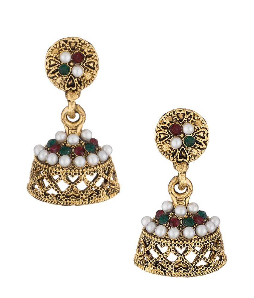 Voylla Golden Designer Pearl Jhumki Earrings