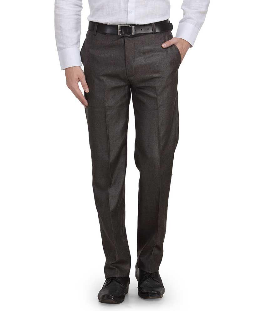Ausy Grey Slim Fit Formal Flat Trouser