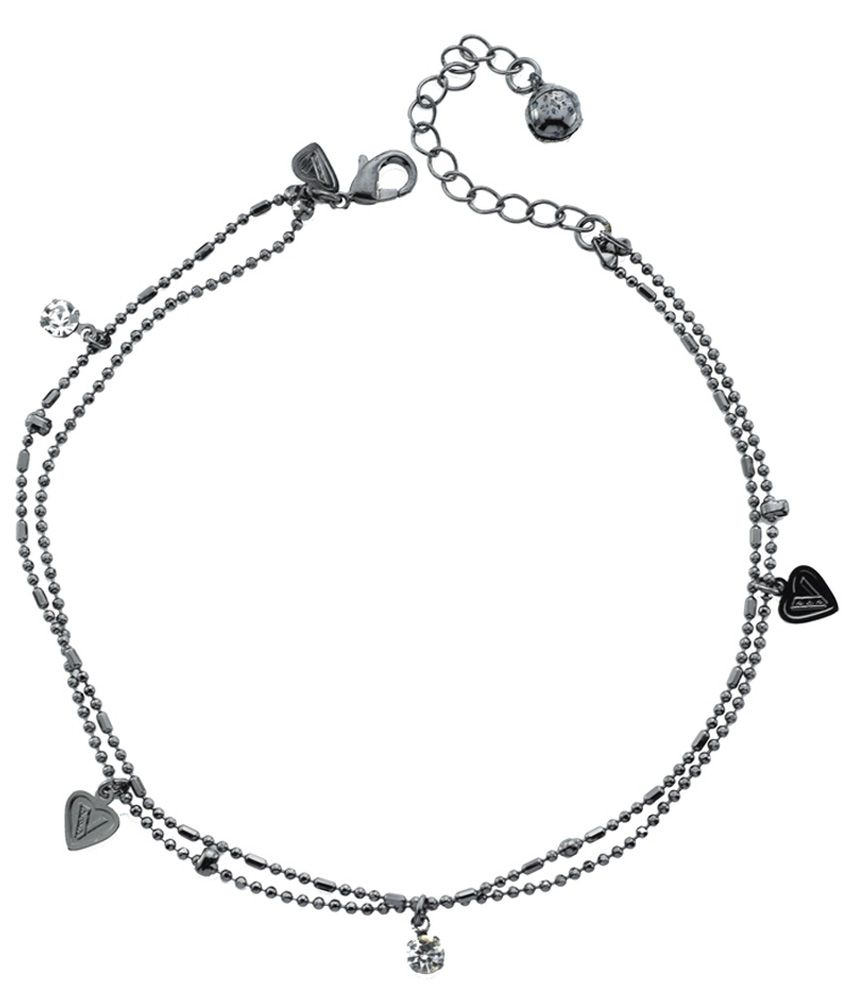 High Trendz Black Heart Copper Anklet For Women