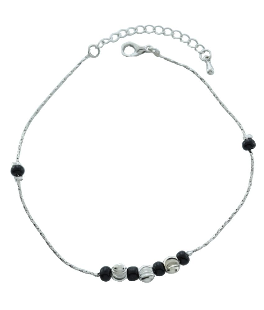 High Trendz Black and silver balls Copper Anklet For Women