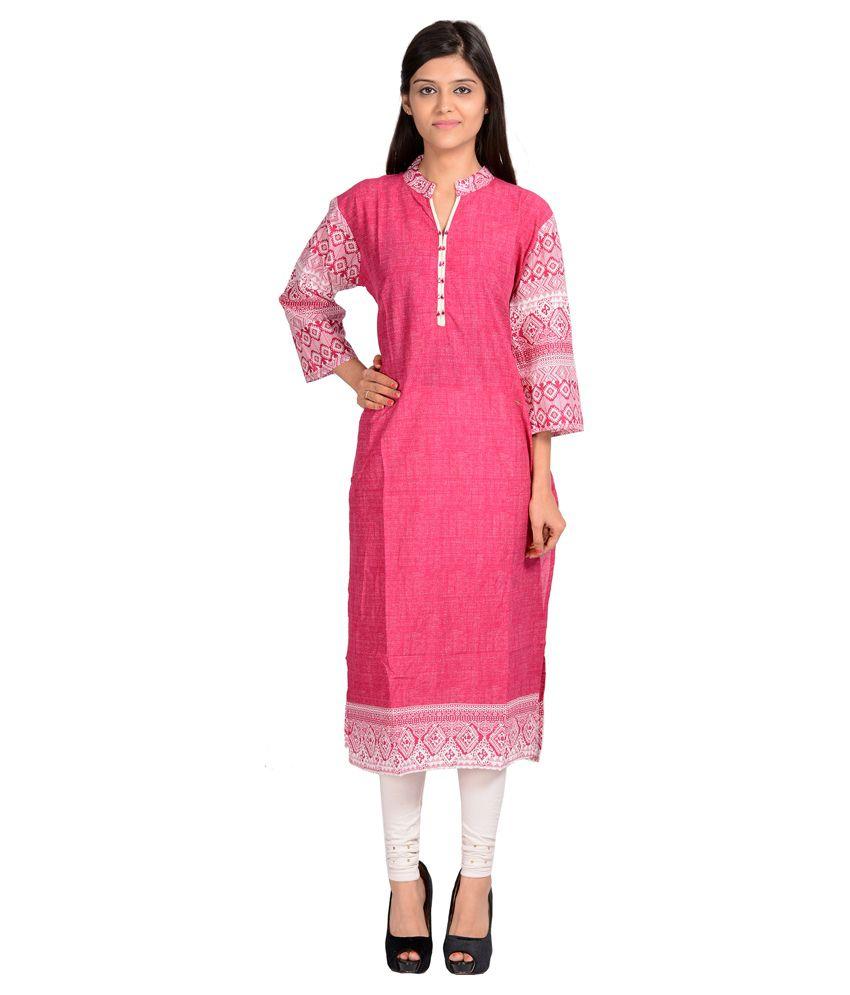 No More Begging Pink Cotton Kurti