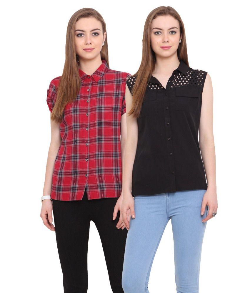 Porsorte Black Cotton Shirts
